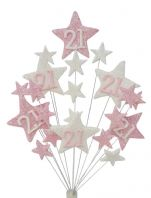 Star age 21st birthday cake topper decoration in pale pink and white - free postage